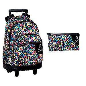 51eL8RfOsvL. SS300  - Montichelvo Montichelvo Backpack A.O. M&L Kiss Me Bolsa Escolar, 43 cm, Multicolor (Multicolour)