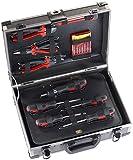 AGT Werkzeugkoffer bestückt: Alu-verstärkter Werkzeugkoffer WZK-645, 64-teilig mit Kleinteile-Set (Werkstattkoffer)