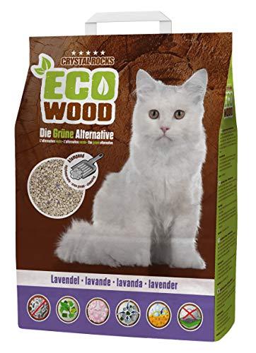 Crystal Rocks Katzenstreu ECO Wood Lavendel | Premium Streu aus Holz, für Katzen mit Duft (6 Liter)