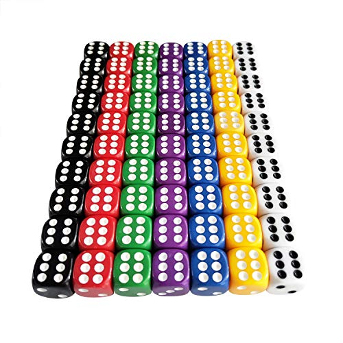 70 Pieces 6 Sided Dice Set 16mm Acrylic Dice 7 Color for Board Games, Activity, Casino Theme, Party Favors, Toy Gifts