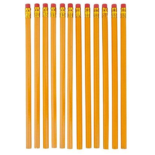 Westeng Lot de 10 Crayon en bois Crayons à Papier HB avec une petit gomme à effacer Fournitures scolaires