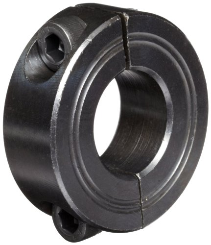 Climax Metal M2C-12 Steel Two-Piece Clamping Collar, Metric, Black Oxide Plating, 12mm Bore Size, 28mm OD, With M4 x 12 Set Screw