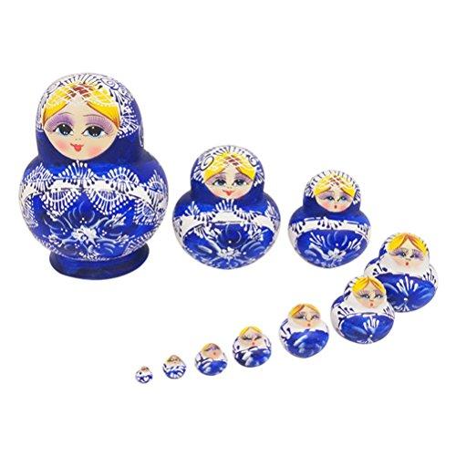 Healifty Russische Nesting Dolls Matryoshka Holz Spielzeug Russische Puppen Klassische Babuschka Handmade Geschenk 10 Stück(Blau)