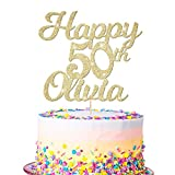 EDSG Personalised Happy 50th Birthday Cake Topper - Custom Any Name and with Any Age 16, 18, 21, 30, 40- Made from 400 Gram Double Sided Non-shed Glitter Card Hand Finished in UK