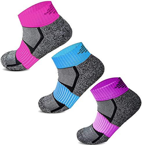 Socksology Womens Ankle Athletic Running Socks Low Cut Sports Heel Tab No Show Sock SIZE UK 4-8 (3 Pairs, Grey/Black/Purple)