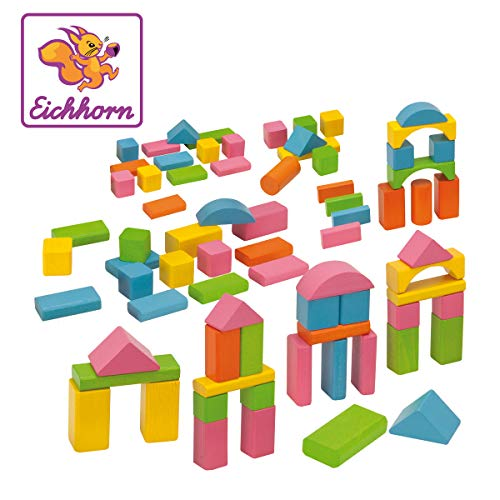 Eichhorn 75 pastellfarbene bunte Holzbausteine in Aufbewahrungsbox und Sortierdeckel, FSC 100% zertifiziertes Buchenholz, hergestellt in Deutschland, Motorikspielzeug geeignet für Kinder ab 1 Jahr