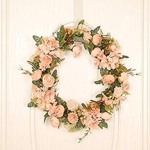 90sMuse Artificial Rose Wreath, 18Inch Spring Summer Flower Wreath Silk Hydrangea Floral Wreath with Lvy Eucalyptus Leaf Artificial Wreath for Front Door Wedding Decor (Gold)