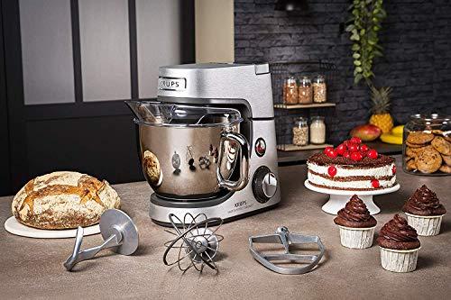Krups Premium Küchenmaschine 17 teilig, 4,6L Edelstahlschüssel, Silikonschüssel, 4 Rührwerkzeuge Edelstahl, spülmaschinenfest, 1100W, Schnitzelwerk, Fleischwolf, Gratis Rezepte und 12er Cupcake Form - 5