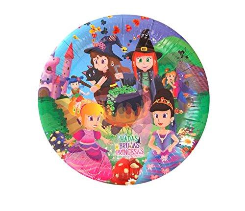 Verbetena - 8 platos hadas, brujas y princesas. 23 cm (012050068)