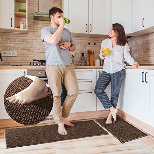 "Delxo Kitchen Rug Sets,2 Piece Non-Slip Soft Super Absorbent Kitchen Mat Doormat Carpet Set,Chenille Microfiber Material, 17""x48"" +17""x24"" (Brown)"
