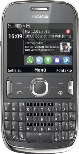 Nokia Asha 302 Smartphone (6,1 cm (2,4 Zoll) Display, 3,2 Megapixel Kamera, HSDPA, QWERTY) grau