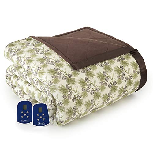 Thermee Micro Flannel Electric Blanket, Pinebough, King