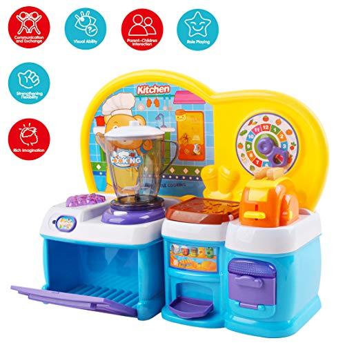 deAO La Mia Prima Cucina Giocattolo Set da Cucina Mini con Luci e Suoni per Bambini Include Accessori e attività di Classificazione di Forme (Blu)
