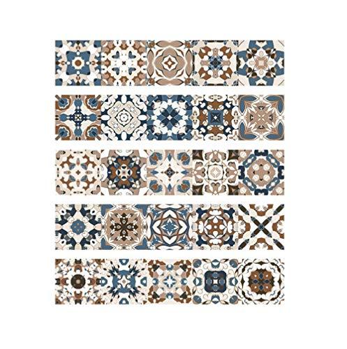 JRTILES 3D Decorativos Adhesivos para Azulejos Pegatina De Pared - 20X20Cm X 25 Piezas Estilo Arabe Autoadhesivo Pegatinas Azulejos para Baño Y Cocina