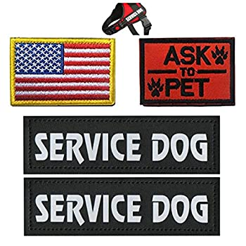 Homiego Military Morale Service Dog Patch for Pet Tactical K9 Service Harness Vest Pack of 4  1