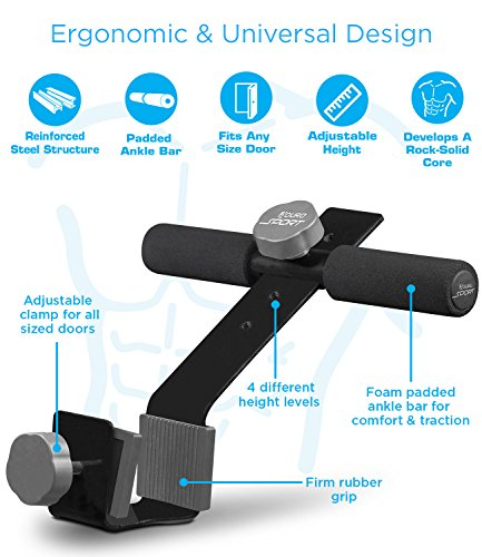 Aduro Sport Doorway Sit-Up Exercise Bar, Adjustable Reinforced Steel with Padded Ankle Bar, Perfect for Home Work or Travel - Fits Any Door