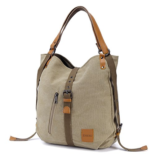 Canvas Shoulder Bag Ladies Rucksack Vintage Handbags, JOSEKO Tote Convertible Backpack Bag Multifunctional for Work Travel School Casual Daily PU Strap for Women Girls Female Color / design may vary