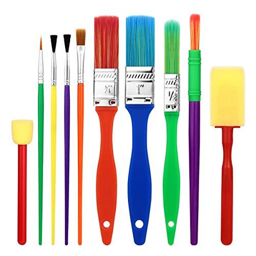 NUOBESTY Enfants Peinture Pinceaux Outils de Dessin Enfants Peinture Kits Kits Dapprentissage Précoce Pinceaux Éponge Art Graffiti Brosse Balai Outils 15 Pcs Couleur Aléatoire