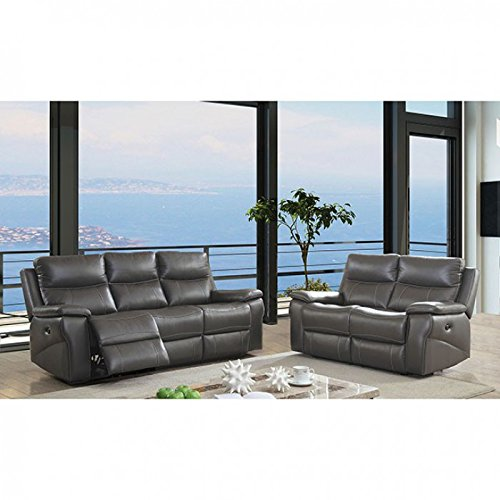 Esofastore Contemporary Reclining Sofa Loveseat 2pc Sofa Set Living Room Furniture Gray Leather Upholstered Padded Cushion Couch