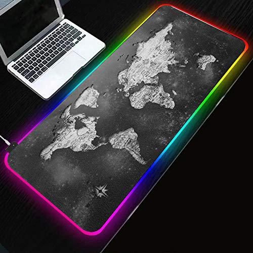 Alfombrilla de ratón para Juegos RGB con Mapa del Mundo Gris,Alfombrilla de ratón con Base de Goma Antideslizante Extra XXL para Teclado de Ordenador portátil-900×400 MM