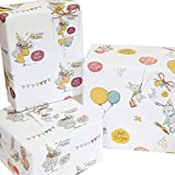 6 x Cute Vintage Animals Gift Wrapping Paper Unisex boy Girl Women Female Gift wrap Paper Just for You Birthday Presents Occasions New Baby Baby Shower 50x70cm Sheets Gift Tags & String