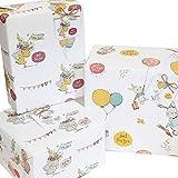 6 hojas de papel de regalo unisex con diseño de animales vintage para niños y mujeres, 50 x 70 cm, etiquetas de regalo y cuerda