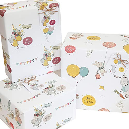 6 x Cute Vintage Animals Gift Wrapping Paper Unisex boy Girl Women Female Gift wrap Paper...