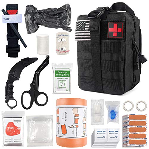 "Emergency Survival First Aid Kit with Tourniquet, 6"" Israeli Bandage, Splint, Military Combat Tactical Molle IFAK EMT for Trauma Wound Care, Battle, Bleeding Control and More (Black)"