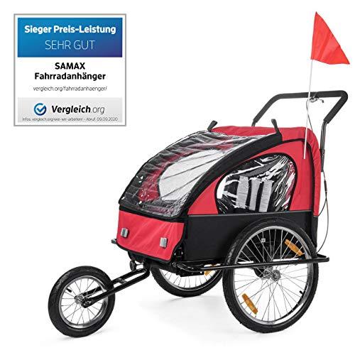 SAMAX Remolque de Bicicleta para Niños Kit de Footing Transportín Silla Cochecito Carro Suspensíon Infantil Carro en Rojo/Negro - Black Frame