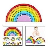DMZK Rompecabezas Arco Iris de Madera, Juguetes educativos Puzzle Arcoiris 7 Color para Niños