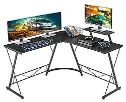 top 10 l shaped desks IRONSTONE 50.8 ″ L-shaped table, computer corner table, home game table, desk…