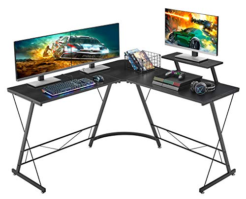 "Mr IRONSTONE L-Shaped Desk 50.8"" Computer Corner Desk, Home Gaming Desk, Office Writing Workstation with Large Monitor Stand, Space-Saving, Easy to Assemble, Black"