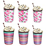 Yideng fundas para café helado, fundas aislantes para bebidas frías, reutilizables, portavasos de neopreno para café Starbucks, McDonalds, Dunkin Donuts y más, dos estampados, 16 oz 24 oz 32 oz