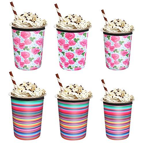 Yideng 6er Pack Isolierte Neopren-Eiskaffee-Hüllen,Isolator-Tassenhülsen für wiederverwendbare kalte Getränke, Neopren-Tassenhalter für Starbucks-Kaffee, McDonalds, Dunkin Donuts , 16 oz 24 oz 32 oz