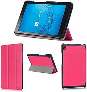 wisers 保護フィルム付 NEC LAVIE Tab S TS508/FAM PC-TS508FAM 8インチ タブレット 専用 超薄型 スリム ケース カバー [2017 年 新型] ピンク
