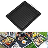 Cast Iron Griddle Pan, Non Stick Reusable Griddle Plate Pan Barbecue Griddle Pan Cooking with Handles for...
