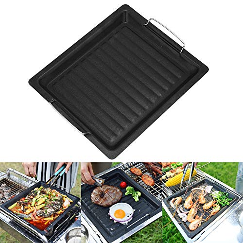 Cast Iron Griddle Pan for BBQ, Non Stick Reusable Griddle Plate Pan Barbecue Griddle Pan Cooking with Handles for Indoor Outdoor BBQ, Campfires, Gas