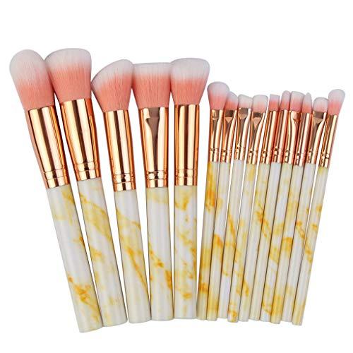 kingko® 15Pcs Lot de pinceaux à Maquillage Professionnel pour Les Fonds de Teint, pinceaux à Fard à Joues, Kabuki, à Poudre, à crèmes cosmétiques et correcteur pour œil (Jaune)
