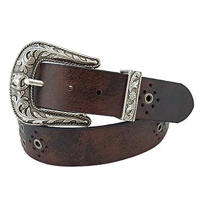 Western Studded Leather belt with Sterling Silver finish buckle set Vintage Brown L