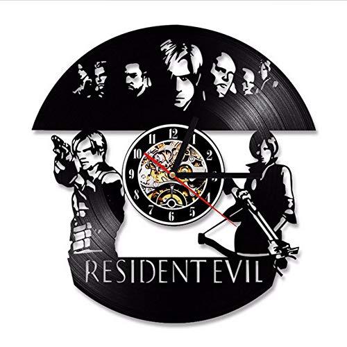 hhcuij Resident Evil Reloj De Pared Diseño Moderno Tema De Película Vintage Estilo Retro Vinilo Relojes Reloj De Pared Decoración para El Hogar Silencioso 12 Pulgadas12 Pulgadas