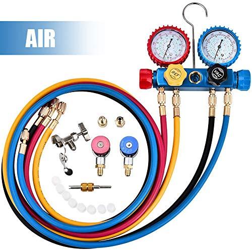 4YANG Se Adapta a R134A R410A y R22 Refrigeración Aire Acondicionado Conjunto de Herramientas de Medidor Diagnóstico de CA, Conjunto de 4 Vías para Carga Freón y Evacuación Bomba de Vacío