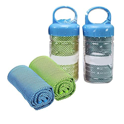 HWGING 2pcs Cooling Towel for Instant Cold Towel for Running Workout Sweat Gym Sports Beach Yoga Golf Tennis Camping CoolingTowel with Bottle