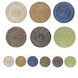 Niaguoji manteles individuales redondos trenzados(12 inch)y posavasos(4 inch), seis cada uno, antideslizante lavable place mat, mantel redondo,salvamanteles, vistoso