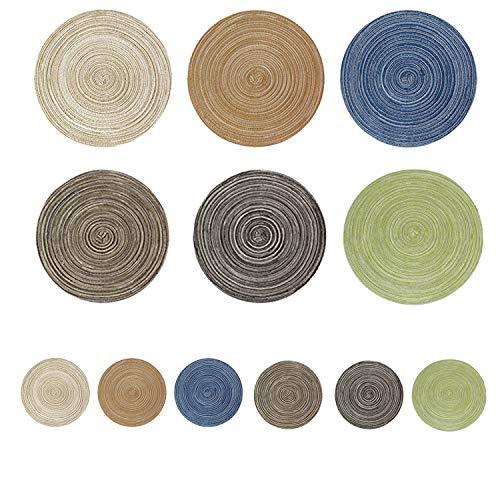 NIAGUOJI 12inch Sets de Table& 4inch Dessous de Verre, Lot de 12 Set de Table Rond Tressé Lavable Résistantes à la Chaleur Antidérapant, Couleur