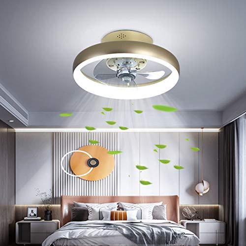 TATANE LED Techo Ventilador Encendiendo Regulable con Control Remoto Moderno Cuarto Lámpara de Techo Reversible 6 velocidades Silencio Ventilador Redondo Lámpara para Sala Oficina,40CM