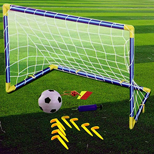 Kids Children Football Goal Post Net Ball With Pump Whistle Toy IndoorOutdoor Soccer Single