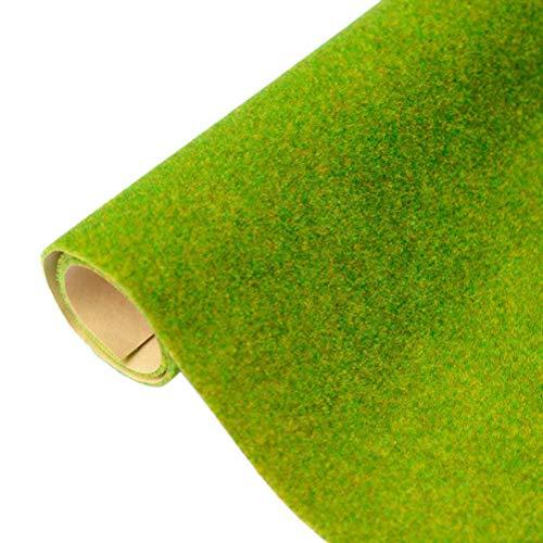 Deeabo 100 * 50cm Estera De Hierba Artificial Decorativa,Decoración De Estera De Hierba De Construcción De Jardín En Miniatura De Pradera, Modelo Arquitectónico Hecho A Mano DIY Césped,Amarillo Verde