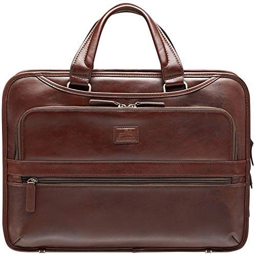"""Mancini Beverly Hills Full Grain Leather Triple Compartment Briefcase for 15.6"""" Laptop / Tablet, Brown"""