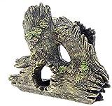 MZD Accesorios para acuario, decoración de acuario, resina y madera de deriva para acuario, tamaño de escondite de cíclidos, 15 cm de largo, 7 cm de ancho, 14 cm de alto.