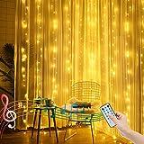 2M X 2M Luces de cortina navideñas con pilas/control remoto Luces de hadas para ventanas Luces de cuerda de carámbano Función de ritmo musical para decoración interior y exterior (blanco cálido)